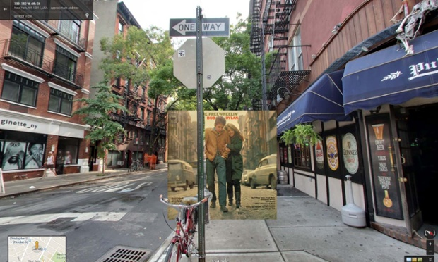 The Freewheelin'  de Bob Dylan, tomada cuando caminaba con su novia, Suze Rotolo, por la calle Jones Street en el West Village, Nueva York en 1963.