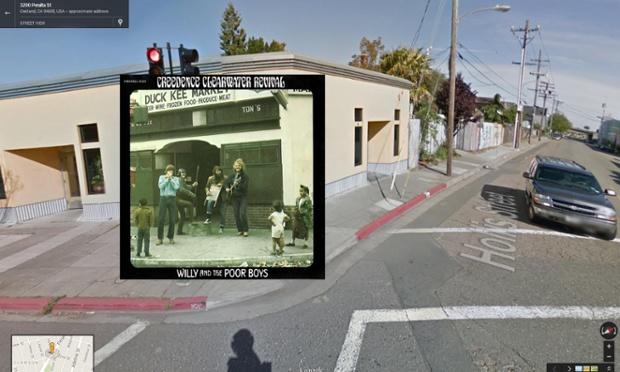 Willy and the Poor Boys por Creedence Clearwater Revival. Los chicos CCR representan la música callejera a niños locales fuera del Kee Fish Market en Hollis Street en Oakland, California, en 1969. La tienda ha sido completamente remodelada.