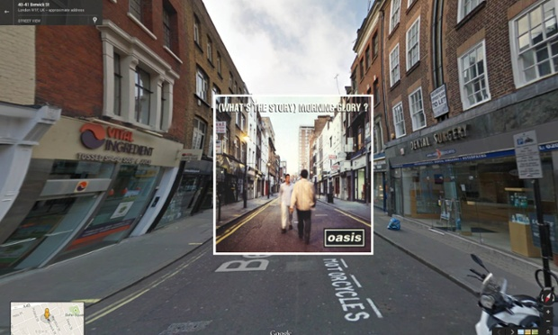(What's the Story) Morning Glory? por Oasis, tomada en Berwick Street en Soho - Londrés.